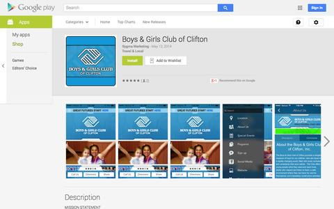 Screenshot of Android App Page google.com - Boys & Girls Club of Clifton - Android Apps on Google Play - captured Oct. 23, 2014