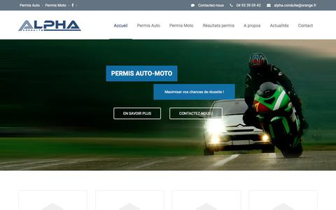 Screenshot of Home Page alphaconduite.fr captured June 2, 2016