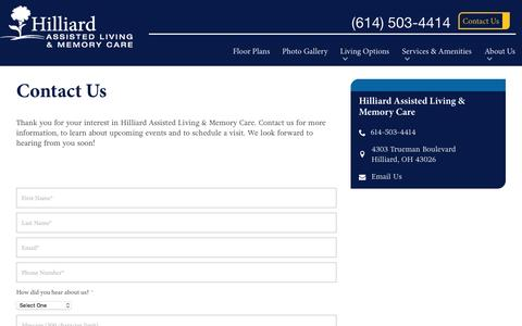 Screenshot of Contact Page spectrumretirement.com - Contact Hilliard Assisted Living & Memory Care - captured Jan. 23, 2017