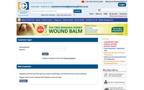 Screenshot of Login Page pharmacydirect.co.nz - Pharmacy Direct - NZ's favourite online pharmacy - captured Sept. 20, 2018