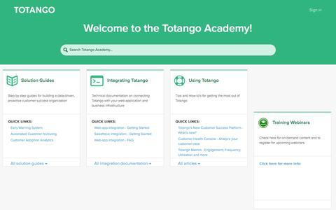 Screenshot of Support Page totango.com - Totango - captured Jan. 14, 2016