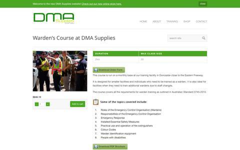 Screenshot of Login Page dmasupplies.com.au - Warden's Course at DMA Supplies - DMA Supplies - captured July 31, 2016