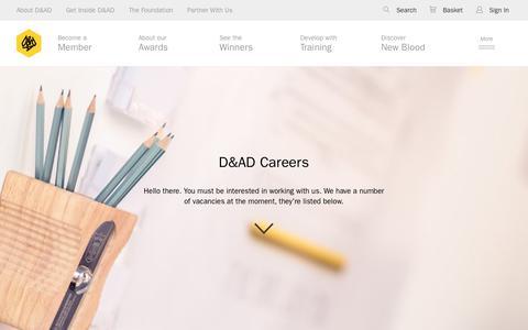 Screenshot of Jobs Page dandad.org - D&AD Careers  | D&AD - captured June 22, 2017
