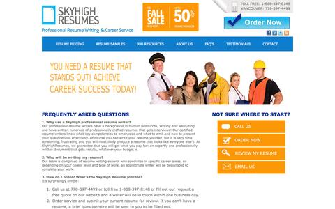 Screenshot of FAQ Page skyhighresumes.com - Resume Services Canada - Interview Coaching - captured Sept. 29, 2014