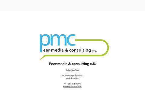Screenshot of Home Page peer-media.at - Peer media & consulting e.U. - captured July 14, 2018