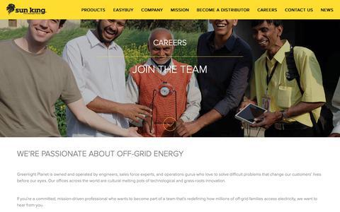 Screenshot of Jobs Page greenlightplanet.com - Careers |  Sun King - captured Sept. 30, 2018