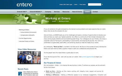 Screenshot of Jobs Page entero.com - Working at Entero | entero - captured Feb. 9, 2016