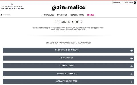 Screenshot of Contact Page FAQ Page graindemalice.fr - Grain de Malice - FAQ et contact - captured June 29, 2017