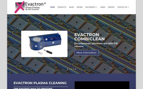 Screenshot of Home Page evactron.com - Evactron Plasma Cleaning - Evactron® - captured Sept. 25, 2018