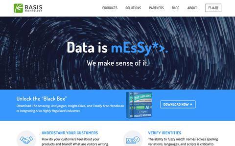 Screenshot of Home Page basistech.com - Basis Technology - captured Jan. 16, 2019
