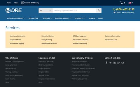 Screenshot of Services Page dremed.com - New and Used Medical Equipment - Hospital Equipment - captured July 2, 2017