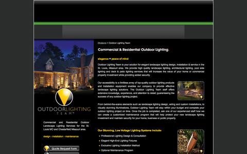 Screenshot of Home Page teamgreenoutdoor.com - Outdoor Landscape Lighting in St Louis Missouri Chesterfield MO Commercial Residential Lights - captured Aug. 12, 2015