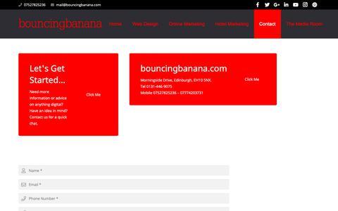 Screenshot of Contact Page bouncingbanana.com - Contact Our Team At Bouncingbanana Agency - captured Nov. 6, 2018