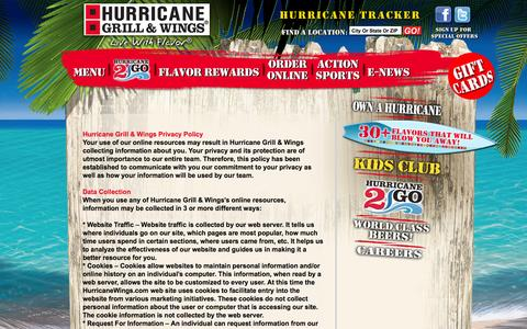 Screenshot of Privacy Page hurricanewings.com - Privacy Policy | Hurricane Grill & Wings - captured Sept. 19, 2014