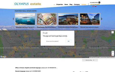 Screenshot of Contact Page olympusestate.com - Contact | Olympus Estate Ltd | Asset Consultants & Property ManagementOwn a piece of the land of the Greek gods - captured Sept. 20, 2018