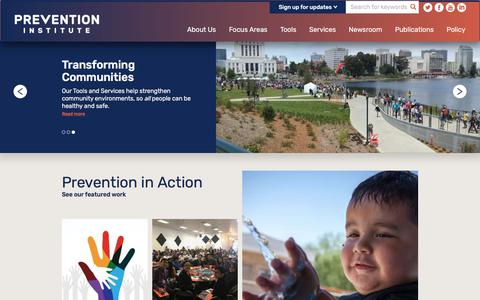 Screenshot of Home Page preventioninstitute.org - Home | Prevention Institute - captured July 21, 2018