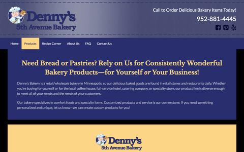 Screenshot of Products Page dennysbakery.com - Enjoy Our Full Line of Delicious Bakery Products in Minneapolis, MN - captured April 19, 2016