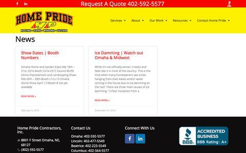 Screenshot of Press Page homepride.net - News   Home Pride Contractors - Omaha, NE - captured Sept. 29, 2018