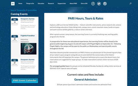 Screenshot of Hours Page pari.edu - Hours & Rates | PARI - captured Sept. 28, 2018