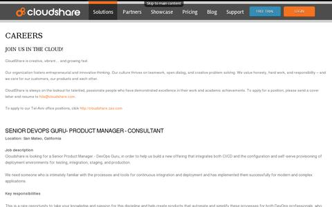 Screenshot of Jobs Page cloudshare.com - Careers | Cloudshare - captured July 20, 2014