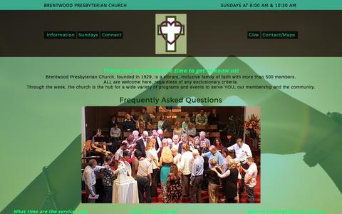 Screenshot of FAQ Page bpcusa.org - FAQs – Brentwood Presbyterian Church - Los Angeles Brentwood Presbyterian Church – Los Angeles - captured Oct. 11, 2017