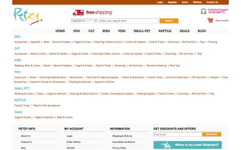 Screenshot of Site Map Page petzy.com - Petzy : Online Pet Food | Accessories | Toys - captured Oct. 28, 2014