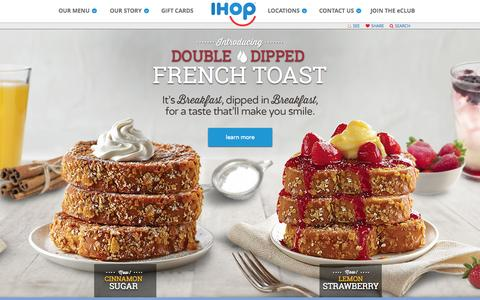 Screenshot of Home Page ihop.com - Welcome to IHOP - captured Aug. 2, 2015