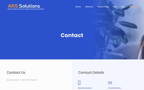 Screenshot of Contact Page arssolutions.co.in - Contact - Welcome to ARS Solutions - captured Dec. 17, 2018