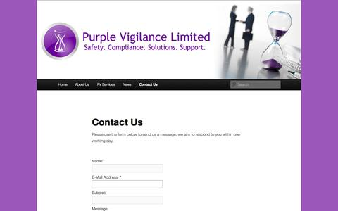 Screenshot of Contact Page purplevigilance.co.uk - Contact Us | Purple Vigilance Limited - captured Oct. 3, 2014