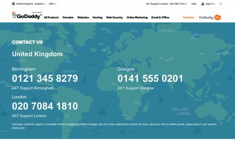 Screenshot of Contact Page godaddy.com - GoDaddy Global Support | Contact Us – GoDaddy UK - captured July 24, 2016