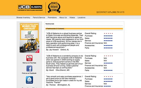Screenshot of Testimonials Page jcbofalabama.com - Testimonials from JCB of Alabama Customers: Sales, Service & Parts Reviews - captured July 20, 2015