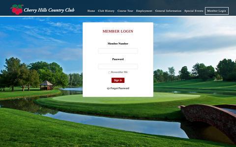 Screenshot of Login Page chcc.com - Member Login - Cherry Hills Country Club - captured Sept. 27, 2018