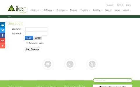 Screenshot of Login Page ikonscience.com - User Log In - captured June 7, 2017