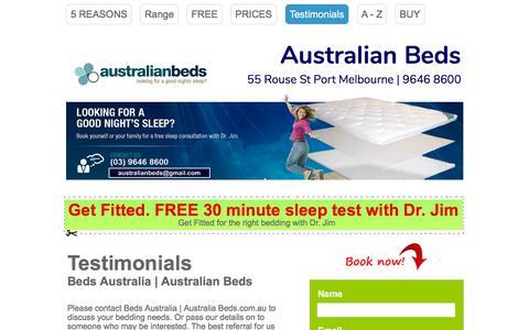 Screenshot of Testimonials Page australianbeds.com.au - Contact : Australian Beds | Beds Australia | Wholesale (03) 9646 8600 - captured July 31, 2018