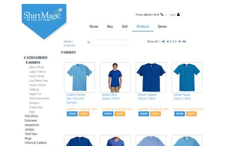 Screenshot of Products Page shirtmagic.com - Custom T-Shirts - So Easy its Magic - captured July 22, 2016