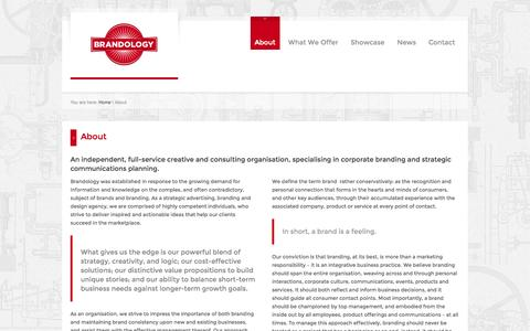 Screenshot of About Page brandology.co.za - About | Brandology - captured Oct. 5, 2014