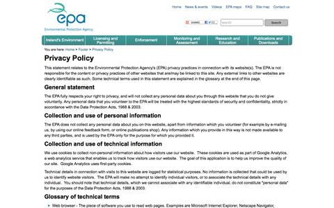 Screenshot of Privacy Page epa.ie - Privacy Policy :: Environmental Protection Agency, Ireland - captured Oct. 30, 2014