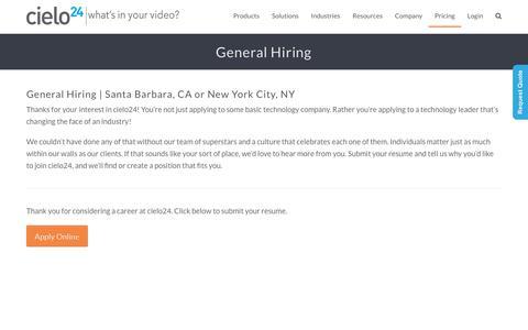 Screenshot of Jobs Page cielo24.com - General Hiring   cielo24 - captured Feb. 11, 2019