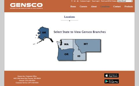 Screenshot of Locations Page gensco.com - Gensco Locations - captured Nov. 4, 2016