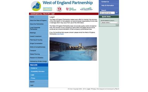 Screenshot of Terms Page westofengland.org - Legal | West of England Partnership - captured Oct. 9, 2014