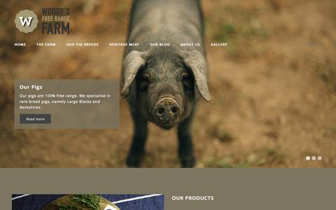 Screenshot of Home Page Login Page woodysfarm.co.nz - Woody's Free Range Farm   Producers of fine pork, ham, sausages and bacon made from 100% free range Large Black and Berkshire pigs. - captured Oct. 7, 2014