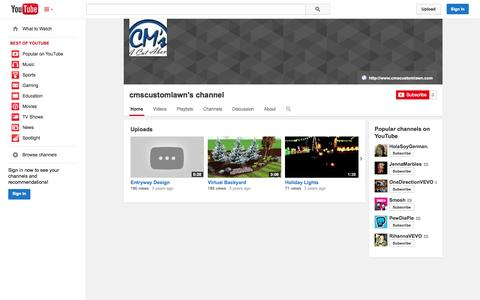 Screenshot of YouTube Page youtube.com - cmscustomlawn's channel  - YouTube - captured Oct. 22, 2014