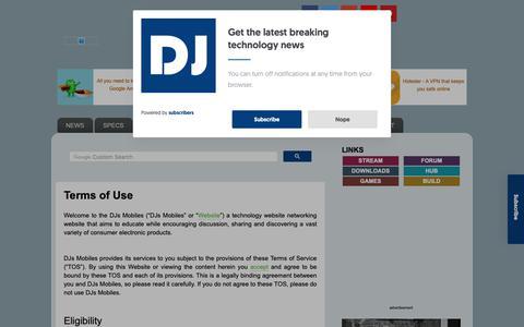 Screenshot of Terms Page djsmobiles.com - DJs Mobiles - Technology Blog: Terms of Use - captured Nov. 6, 2018