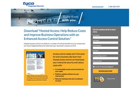 Screenshot of Landing Page tycois.com - Download Hosted Access Solution Brief| TycoIS - captured Nov. 11, 2016