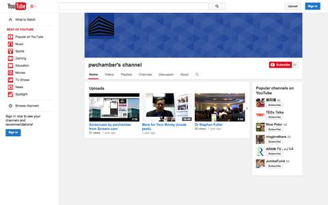 Screenshot of YouTube Page youtube.com - pwchamber's channel  - YouTube - captured Oct. 22, 2014