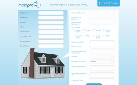 Screenshot of Landing Page maidpro.com - House Cleaning Services Estimate | MaidPro - captured Oct. 27, 2014