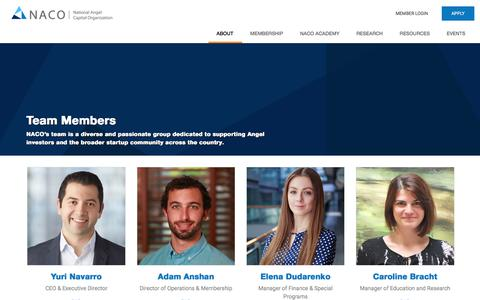 Screenshot of Team Page nacocanada.com - NACO Canada        Team Members - captured Sept. 23, 2018