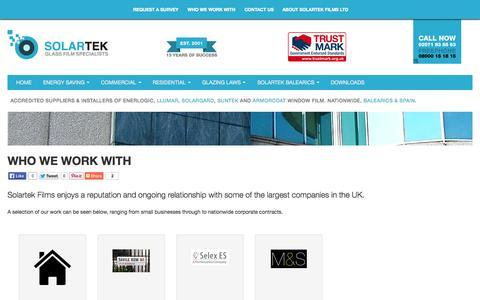 Screenshot of Case Studies Page solartekfilms.co.uk - Who We Work With - Solartek Films - captured Aug. 16, 2015
