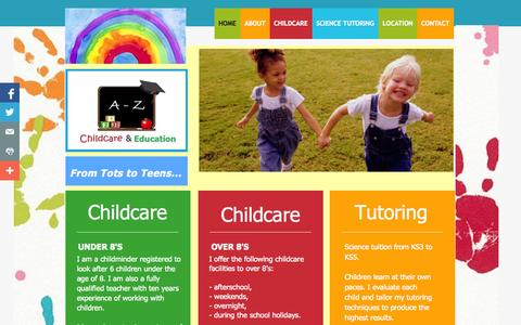 Screenshot of Home Page az-childcare-education.co.uk - Childcare and Science Tutoring Blackwood, Caerphilly - captured Oct. 3, 2014