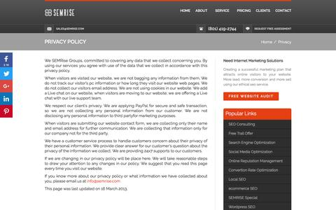 Screenshot of Privacy Page semrise.com - Privacy Policy - captured July 20, 2016